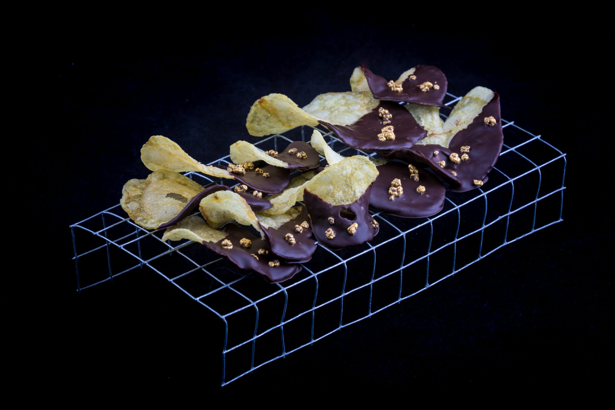 Patatas bañadas en chocolate